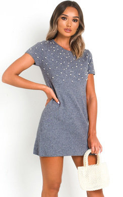 View the Claire Pearl Embellished Knit Dress online at iKrush