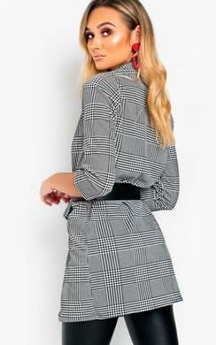 View the Clara Checked Slim Fit Longline Blazer online at iKrush