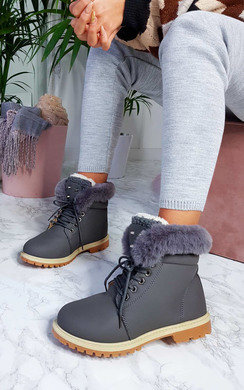 View the Clara Faux Fur Lace Up Desert Boots online at iKrush