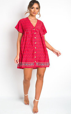 View the Clara Floral Buttoned Shift Dress online at iKrush
