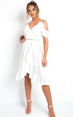 View the Clara Frill Satin Wrap Dress online at iKrush