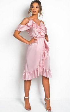 View the Clara Frill Satin Wrap Dress online at iKrush