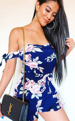 View the Clara Off Shoulder Floral Playsuit online at iKrush