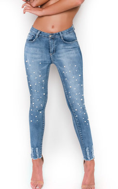 View the Clarisa Beaded Embellished Mid Rise Jeans online at iKrush