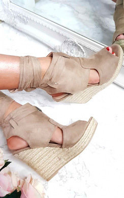 View the Clarisse Faux Suede Espadrille Tie Wedge online at iKrush
