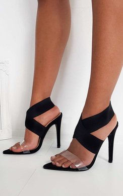 View the Claudia Lycra Perspex Crossover Heels online at iKrush