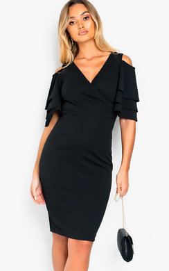 View the Cleo Cold Shoulder Frill Midi Dress online at iKrush