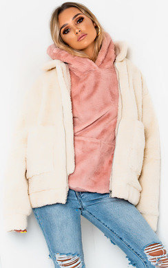 View the Cleo Faux Fur Hooded Jumper online at iKrush