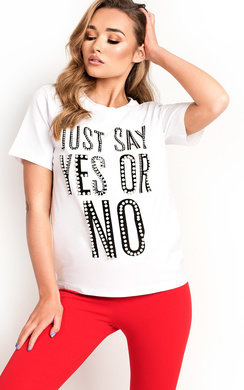 View the Clio Pearl Embellished Slogan T-Shirt online at iKrush