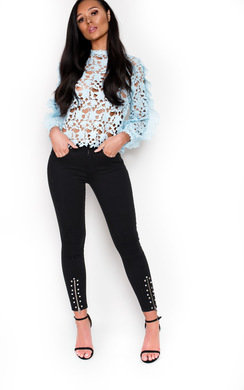 View the Coco Crochet Frill Long Sleeved Top online at iKrush