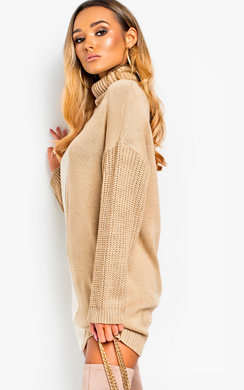 View the Colleen Knitted Two-Tone Jumper Dress online at iKrush