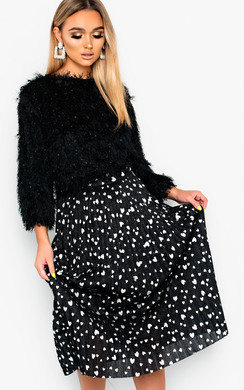 View the Cora Shimmer Pleated Hearts Midi Skirt online at iKrush