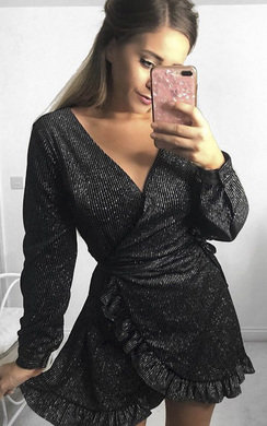 View the Coralie Velvet Shimmer Wrap Dress online at iKrush