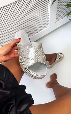 View the Corrie Diamante Crossover Flatform Sandals online at iKrush