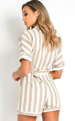 View the Corrie Oversized Tie Waist Striped Playsuit  online at iKrush