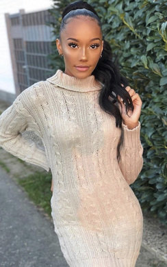 View the Daffney Chunky Knit Long Sleeved Jumper Dress online at iKrush