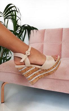 View the Daffney Diamante Cork Wedged Heel online at iKrush