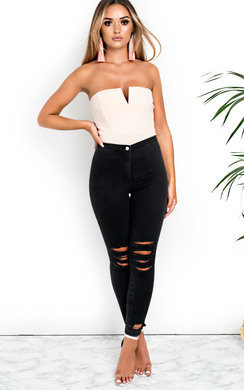 View the Dalton Skinny Mid Rise Ripped Jeans online at iKrush