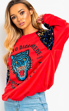 View the Dana Sequin Oversized Jumper  online at iKrush