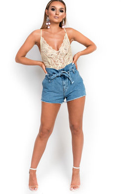 View the Dana Tie Waist Denim Shorts online at iKrush