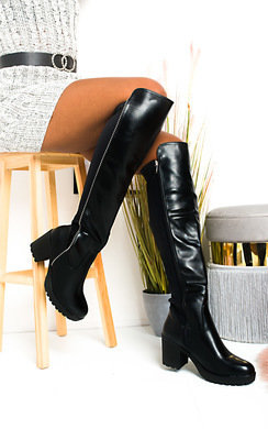 View the Kady Faux Leather Knee High Boots online at iKrush