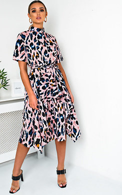 View the Danica Printed Frill Chiffon Dress online at iKrush