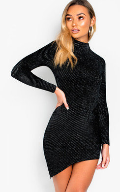 View the Danica Shimmer Velvet Asymmetric Bodycon Dress online at iKrush