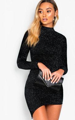 View the Danica Shimmer Velvet Asymmetric Bodycon Dress online at iKrush