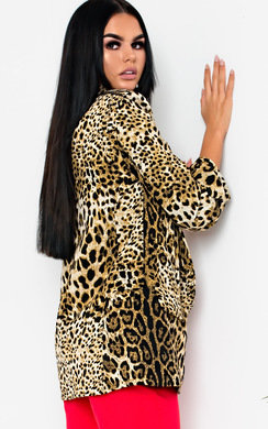 View the Darcie Leopard Long-Lined Blazer Jacket online at iKrush