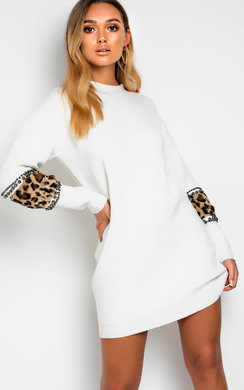 View the Darcy Faux Fur Embellished Jumper Dress online at iKrush