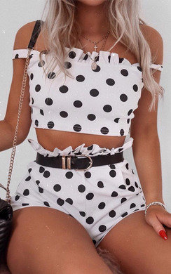 View the Darcy Polka Dot Frill Co-ord online at iKrush