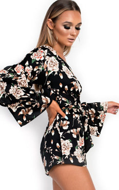 View the Daria Floral Ruffled Kimono Wrap Playsuit online at iKrush