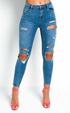 View the Deanna Distressed High Waist Skinny Jeans  online at iKrush