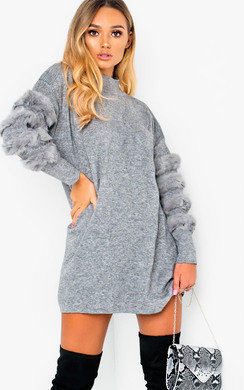 View the Debbi Faux Fur Embellished Jumper Dress online at iKrush