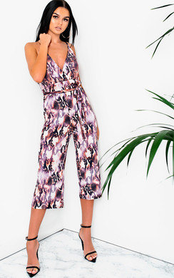 View the Deedee Printed Tie Waist Cropped Jumpsuit online at iKrush