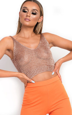 View the Deena Metallic Knitted Crop Top online at iKrush