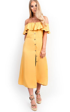 View the Delilah Off Shoulder Button Up Midi Dress online at iKrush