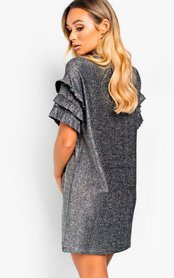View the Delta Glitter Oversized T-Shirt Dress online at iKrush