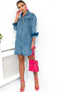 View the Demi Button Up Oversized Denim Dress online at iKrush