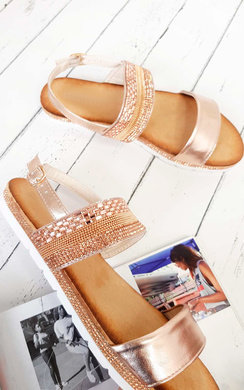 View the Derya Double Strapped Embellished Sandals  online at iKrush