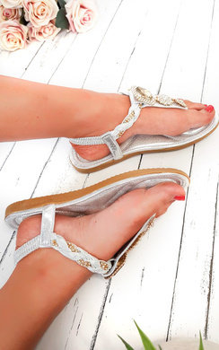View the Destiny Diamante Brooch Embellished Sandals  online at iKrush