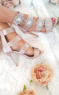 View the Diana Diamante Brooch Satin Heels online at iKrush