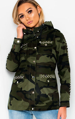 View the Dillan Camo Print Studded Jacket online at iKrush