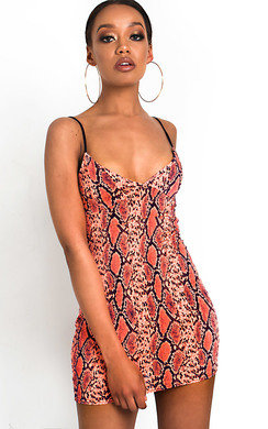 View the Dina Snake Print Mini Dress online at iKrush