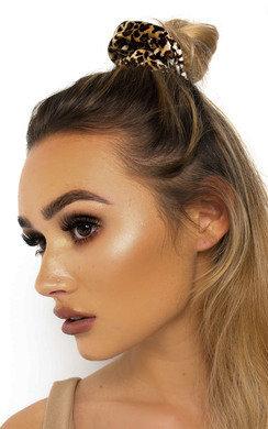 View the Dionne Velvet Leopard Print Hair Scrunchie online at iKrush