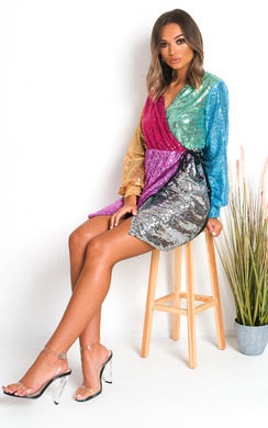 View the Diva Sequin Wrap Mini Dress online at iKrush