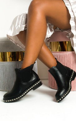 View the Dolly Faux Leather Diamante Chelsea Boots online at iKrush