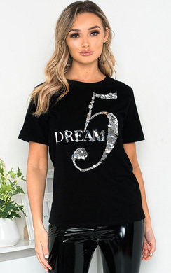 View the Dream Slogan Sequin Embellished Top online at iKrush