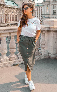 View the Dylan Button Up Midi Skirt online at iKrush