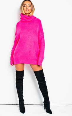 View the Dylan Neon Oversized Poloneck Jumper online at iKrush
